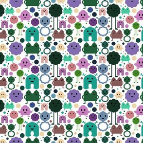 Monsters On the Loose - Teal, Lilac, Olive - teeny tiny
