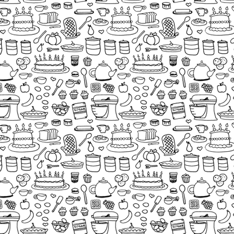 Sketchy Kitchen - black and white - teeny tiny fabric by jesseesuem on Spoonflower - custom fabric