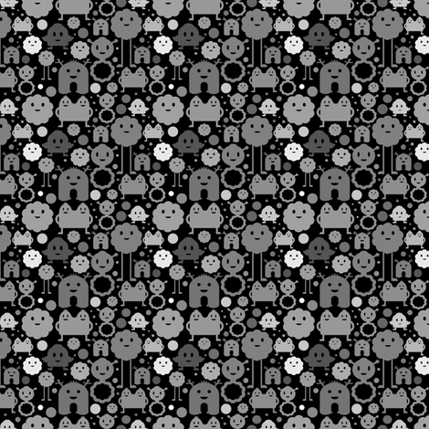 Monsters on the Loose - black and greys - small fabric by jesseesuem on Spoonflower - custom fabric