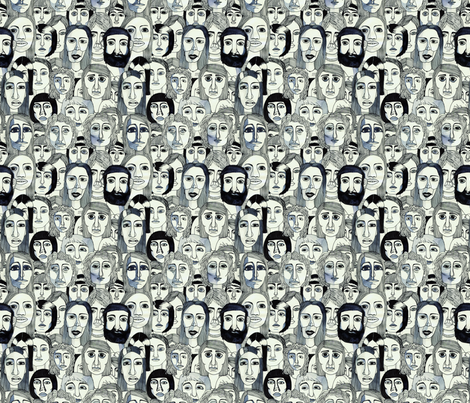 faces in the tube fabric by marinamolares on Spoonflower - custom fabric