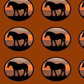 Heavy Horses Silhouette Black & Pheasant