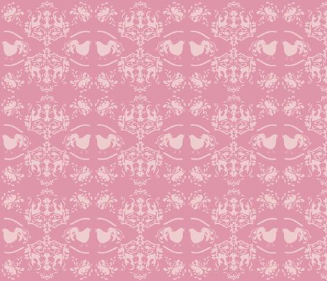 Chick_Chick_Pink_Damask_Lighter fabric by lana_gordon_rast_ on Spoonflower - custom fabric
