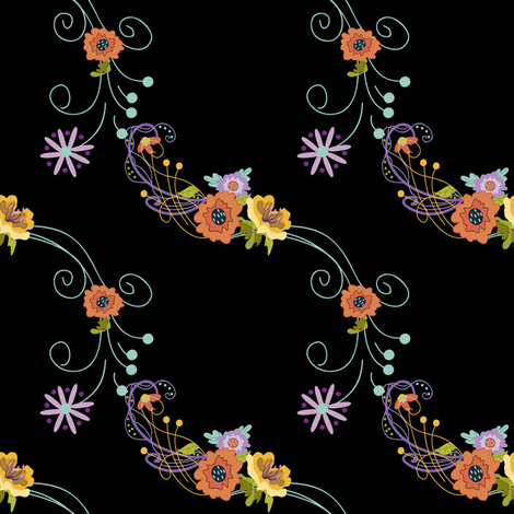 Damask_Lines_on_Black fabric by lana_gordon_rast_ on Spoonflower - custom fabric
