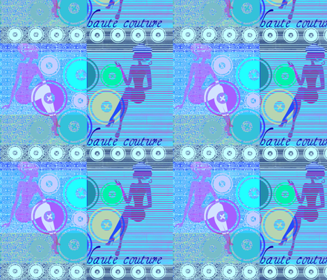 Haute couture BLUE by evandecraats march 24, 2012 fabric by _vandecraats on Spoonflower - custom fabric