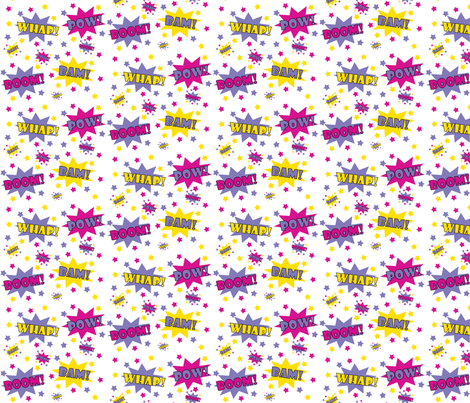 Girl Superhero! POW! fabric by littlebdesigns on Spoonflower - custom fabric