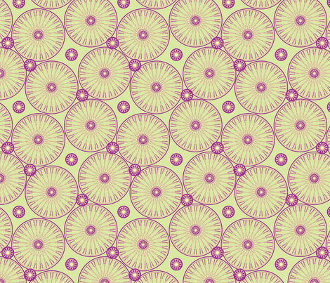 bicyclewheels_and_gears plum green and yellow fabric by glimmericks on Spoonflower - custom fabric