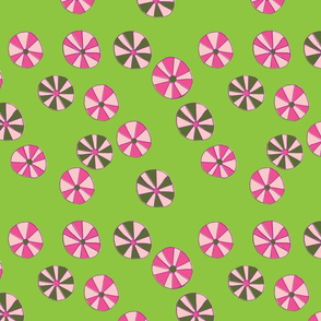 Pinwheel Flowers in Pink & Lime Green