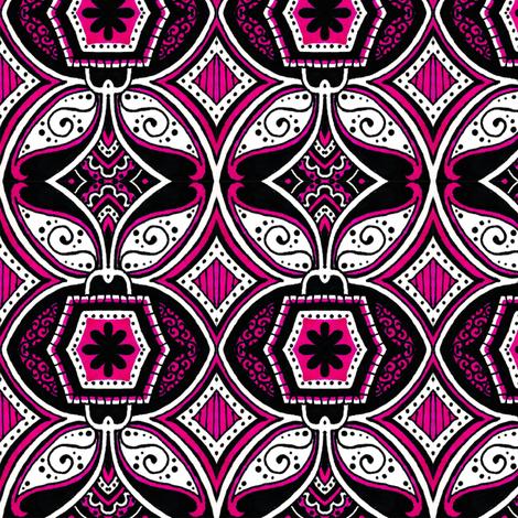 Black Daisy Lock fabric by siya on Spoonflower - custom fabric