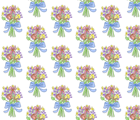 Blue Ribbon Watercolor Bouquet fabric by mammajamma on Spoonflower - custom fabric