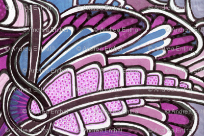 Angel Wings (horizontal, periwinkle/pink)