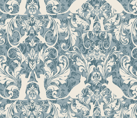 cat damask aqua fabric by kociara on Spoonflower - custom fabric