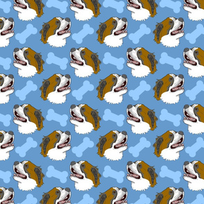 Smiling Saint Bernard Faces - Blue