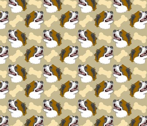 Smiling Saint Bernard Faces - Tan fabric by rusticcorgi on Spoonflower - custom fabric