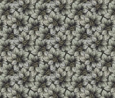 BIGFLOWERS - Charcoal fabric by glimmericks on Spoonflower - custom fabric
