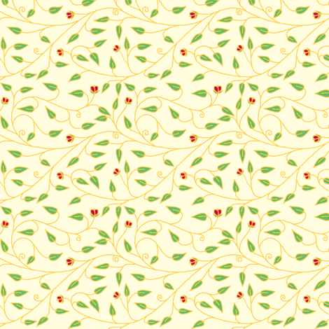 tiny_cloisionne_vines_cream fabric by victorialasher on Spoonflower - custom fabric