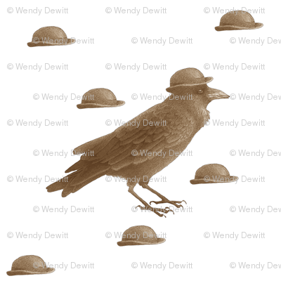 crow w bowler hat (brown)