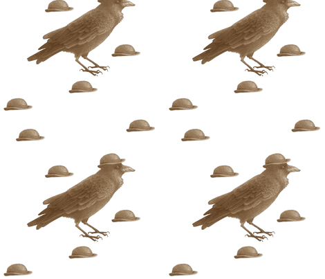 crow w bowler hat (brown) fabric by golders on Spoonflower - custom fabric
