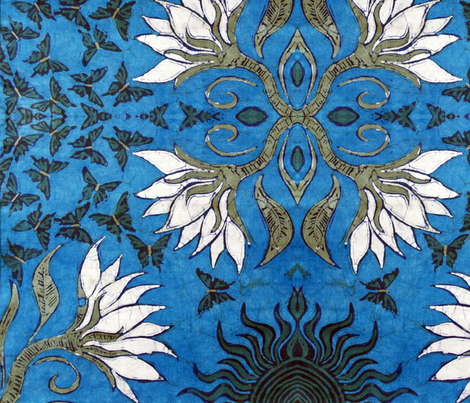 lotus, large repeat fabric by hooeybatiks on Spoonflower - custom fabric