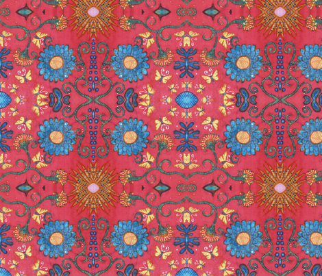 Gina, less blue fabric by hooeybatiks on Spoonflower - custom fabric