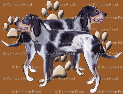 Bluetick Coonhound and Pawprints