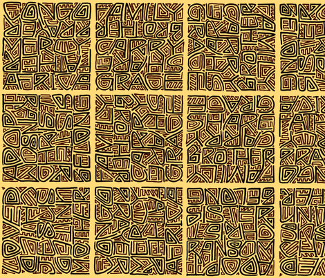 brown maze-style adoption kuba cloth  fabric by weavingmajor on Spoonflower - custom fabric