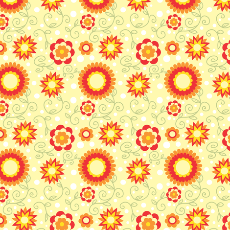 summer sun flowers fabric by julistyle on Spoonflower - custom fabric