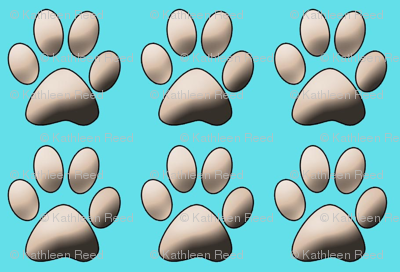 Pawprints in Aqua coordinate