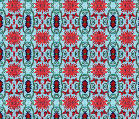 blue, red starburst fabric by hooeybatiks on Spoonflower - custom fabric