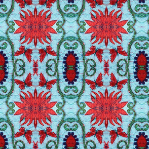 blue, red starburst