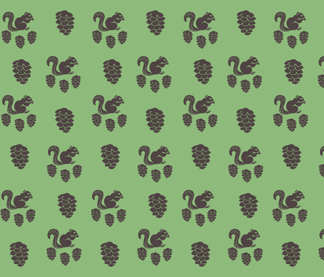 Pinecone Squirrel Grass fabric by jessnicole on Spoonflower - custom fabric