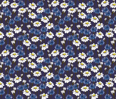 bachelor buttons and daisies 2014 fabric by glimmericks on Spoonflower - custom fabric
