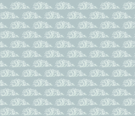 Waves of White horses Small fabric by cherryandcinnamon on Spoonflower - custom fabric