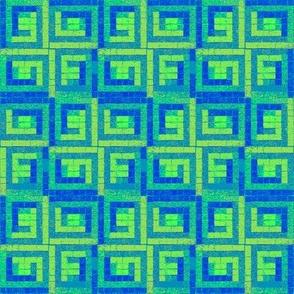 Teal Tiles (Log Cabin)