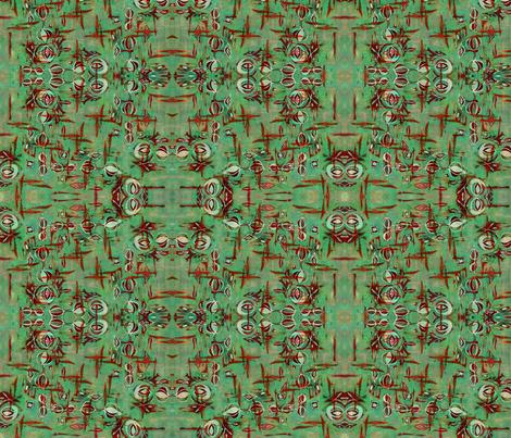 Space Poppy Green fabric by missmorice on Spoonflower - custom fabric