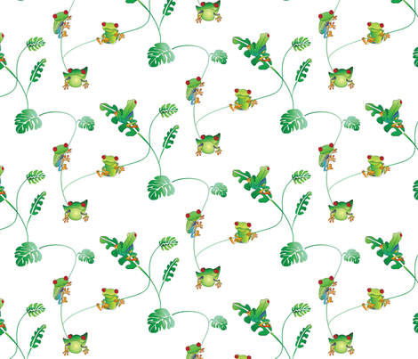 Tree frogs fabric by upcyclepatch on Spoonflower - custom fabric