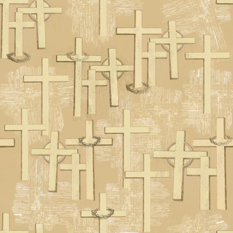 Crosses,Ccrowns & Linen_218_177_120_cream fabric by petals_fair_-_peggy_brown on Spoonflower - custom fabric