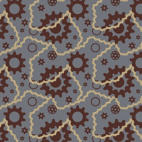 Steam Punk Gears and Bicycle Chain in Slate Blue