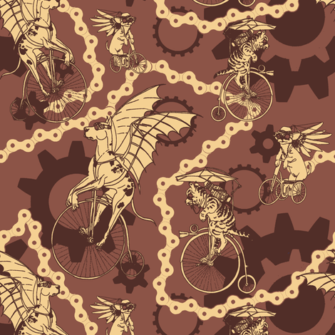 Medium Steam Punk Pets in Brick Red fabric by muddyfoot on Spoonflower - custom fabric