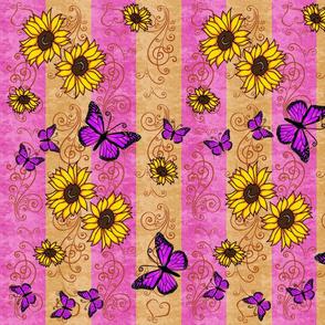 Sunflower Pink Monarch Memories