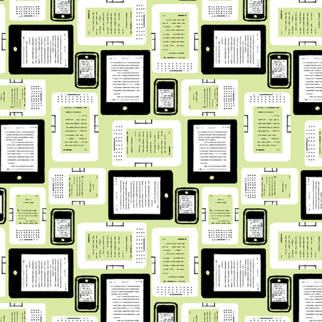 EReader Appreciation fabric by hugandkiss on Spoonflower - custom fabric
