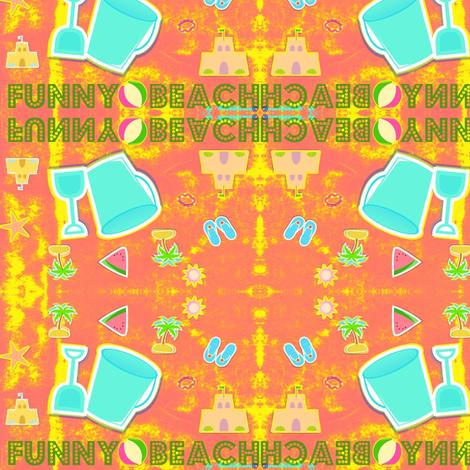 Funny beach blue/pink  by evandecraats__March_27__2012 fabric by _vandecraats on Spoonflower - custom fabric