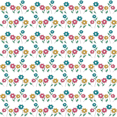 flowers_line fabric by doris&fred on Spoonflower - custom fabric
