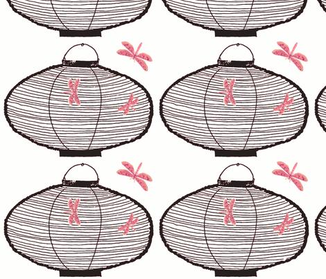 Bamboo Lantern & Dragonflies (black & loud pink) fabric by pattyryboltdesigns on Spoonflower - custom fabric