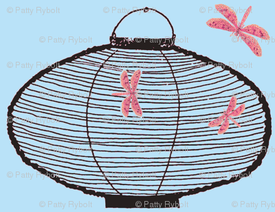 Bamboo Lantern & Dragonflies (black, light sky blue & loud pink)