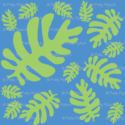 Funky tropical leaf pattern! (green & deep sky blue)