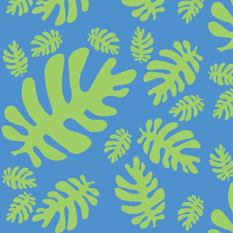 Funky tropical leaf pattern! (green & deep sky blue) fabric by pattyryboltdesigns on Spoonflower - custom fabric