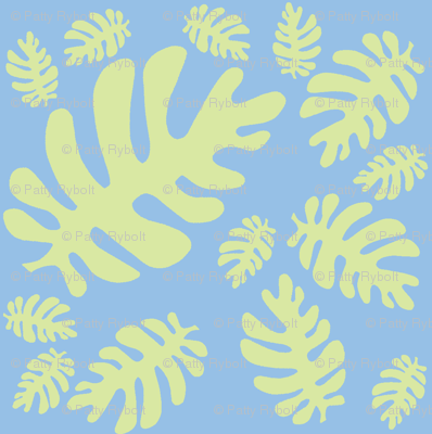 Funky tropical leaf pattern! (light lime & light sky blue)