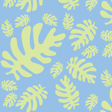 Funky tropical leaf pattern! (light lime & light sky blue) fabric by pattyryboltdesigns on Spoonflower - custom fabric