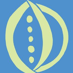 Onion & Peas (lime & deep blue sky)