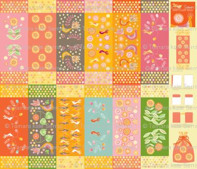 1 dozen party loot bags pheasant garden fabric kayajoy for Garden party fabric by blackbird designs